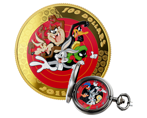 1 oz 2015 Looney Tunes Bugs Bunny and Friends Pocket Watch and 14K Gold Coin